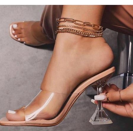 Sandales À Talon -blanc Transparent